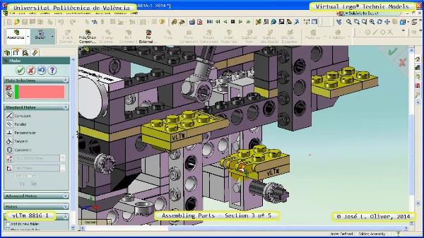 Montaje Modelo Lego Technic 8816-1 con Solidworks ¿ 3 de 5
