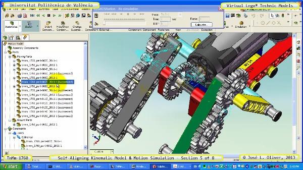 Simulación Dinámica Lego Technic T-1760 sobre Base ¿B- 5 de 8
