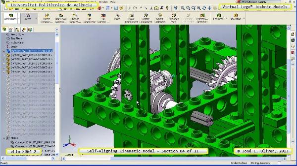 Simulación Cinemática Lego Technic 8064-2 con Cosmos Motion ¿ 04 de 11 - no audio