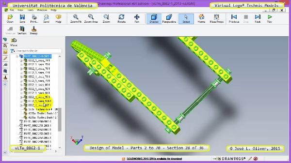 Creación Virtual Modelo Lego Technic 8862-1 ¿ Piezas 2 a 70 ¿ 28 de 36