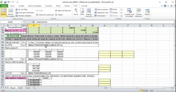 Actividad Univ. Calculo en Geomática MM.CC. por OI con Excel 02_Cálculo y ajuste