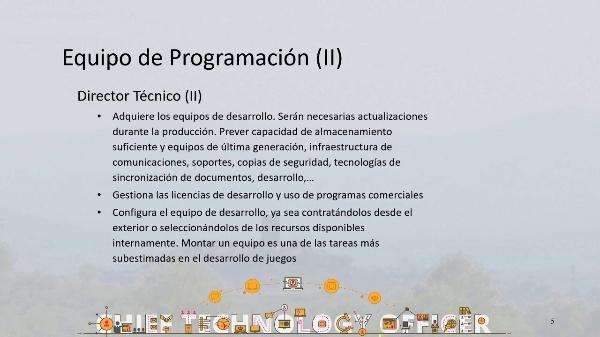 Equipo de producción de videojuegos. Programación