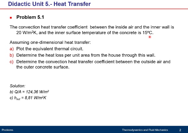 Didactic Unit 5. Heat Transfer - Problem 5.1
