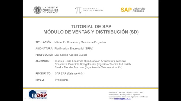 Tutorial de SAP: Ventas y Distribución (SD) (Caso de Estudio SAP UA)