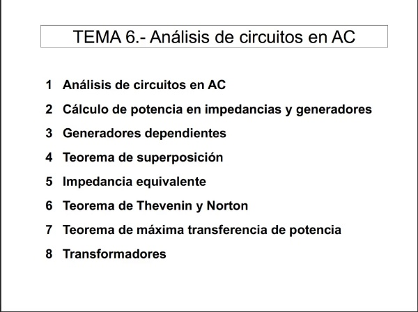6.1.- Análisis de circuitos en AC