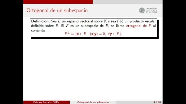 El subespacio ortogonal