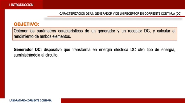 Caracterización de un generador y un receptor de corriente continua