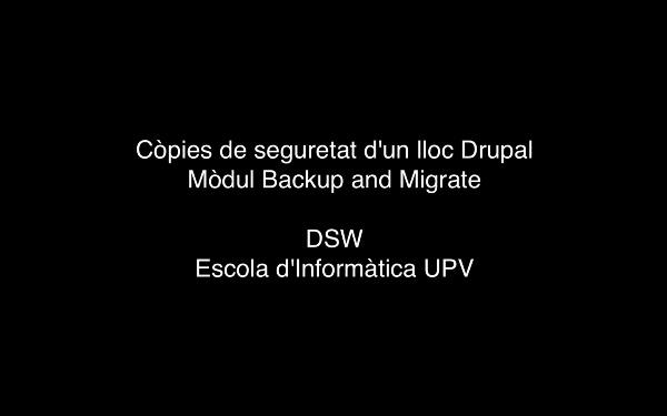 Còpies de seguretat d'un lloc web Drupal