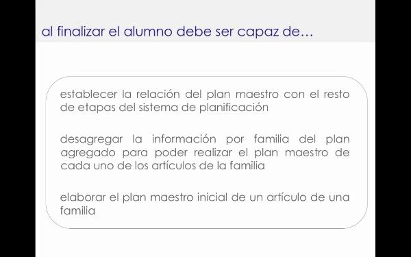 Planificación maestra: plan inicial