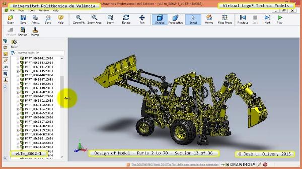 Creación Virtual Modelo Lego Technic 8862-1 ¿ Piezas 2 a 70 ¿ 13 de 36