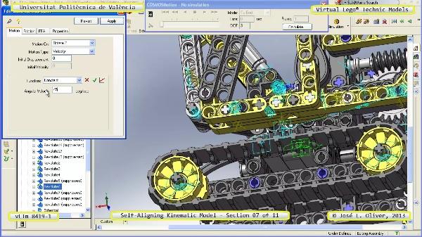 Simulación Cinemática Lego Technic 8419-1 con Cosmos Motion ¿ 07 de 11 - no audio