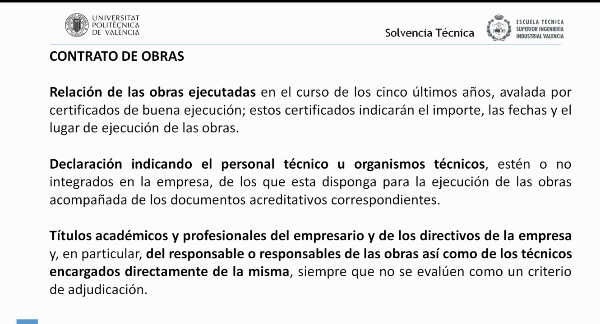 Ley de Contratos del Sector Público. Criterios de solvencia técnica