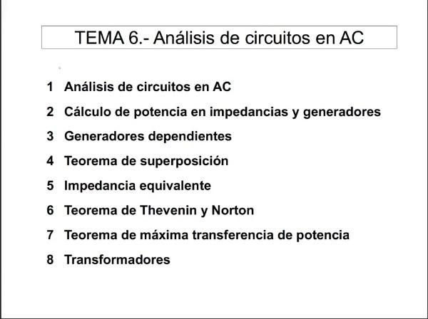 Teoría de Circuitos 1. Lección 6. 2-1 Cálculo de potencia en impedancias