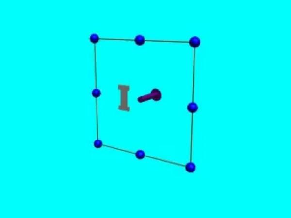Inducción_3: Corriente inducida en una espira rectangular cuando, al variar su orientación, varía el flujo del campo magnético a través de la misma.