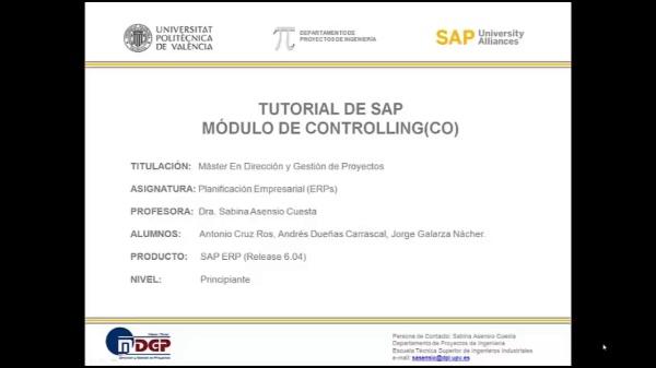 Tutorial de SAP: Contabilidad de Centros de  Coste (CO-CCA) (Caso de Estudio SAP UA)