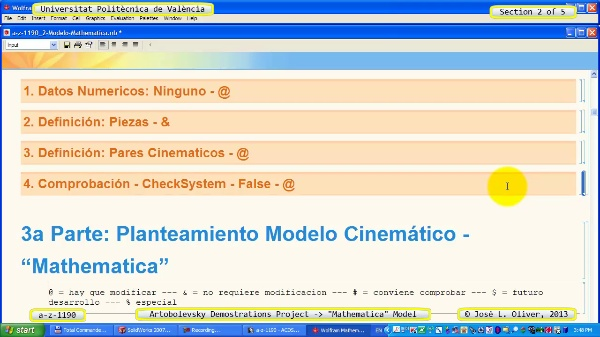 Solución Cinemática Simbólica a_z_1190 con Mathematica - 2 de 5