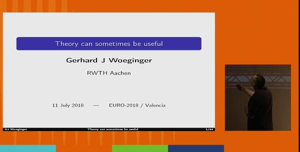 00:00:00 EURO 2018. Plenary Gerhard Woeginger. PRESENTER view