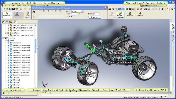 Simulación Cinemática Lego Technic 8432-1 con Cosmos Motion ¿ 17 de 24 - no audio