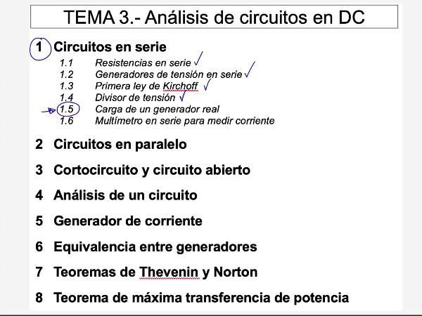 Teoría de Circuitos 1. Lección 3. 1.5.2 Rendimiento de un generador real