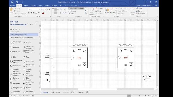 DSD - Tema 5 - Ejemplo 1 - Implementación con codificación random, biestables D y puertas lógicas