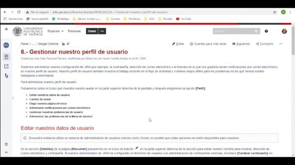 Jira/Confluence: 6. Gestionar perfil de usuario
