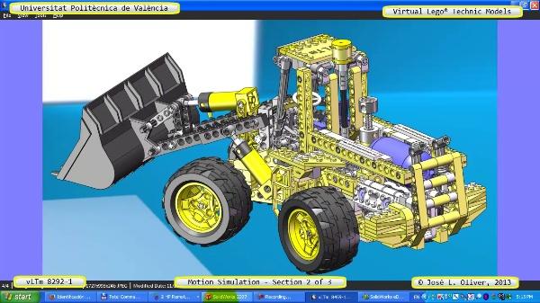 Simulación Dinámica Lego Technic 8292-1 sobre Base 2 de 3