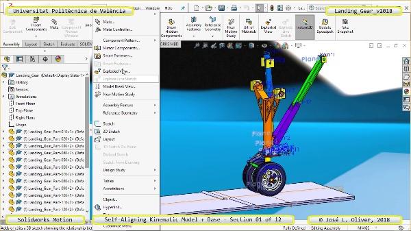 Simulación Dinámica de Tren de Aterrizaje con Solidworks Motion v2017 - 01 de 12