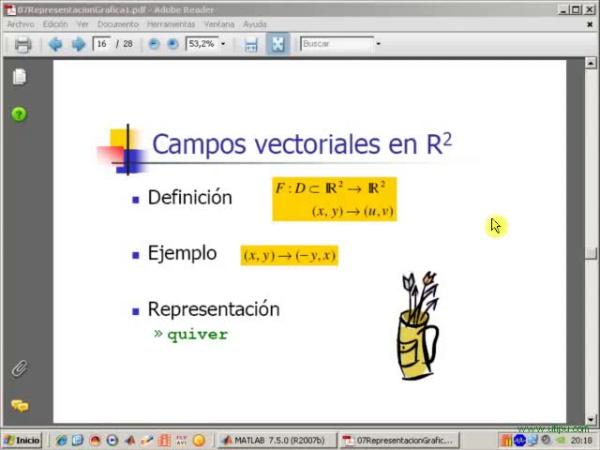Tema 7. Representacón gráfica. Campo vectorial en R2