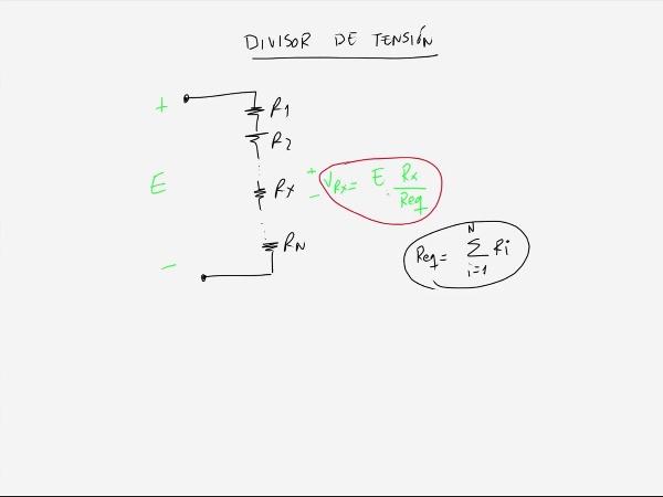 Teoría de Circuitos 1. Lección 3. 1.4.2 Divisor de tensión ejemplo 1