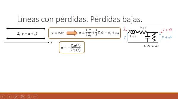 Fundamentos de transmisión. Tema 4.5.3. Líneas con pérdidas. Constante de antenuación.