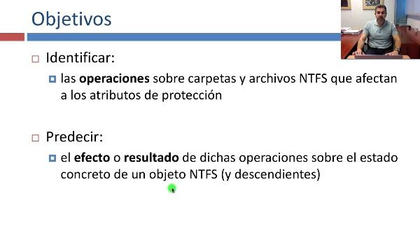 Operaciones en carpetas y archivos NTFS relacionadas con su protección
