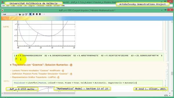 Solución Cinemática Simbólica a-4-1553 con Mathematica - 13 de 23 - Modelo Mathematica