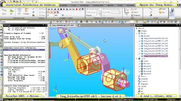 Simulación Cinemática Tang_InlineReciprSTEP-v8r5 con Recurdyn - Mov3d - 2 de 3