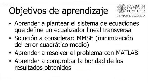 Cálculo de los coeficientes de un Ecualizador Lineal Transversal MMSE mediante MATLAB