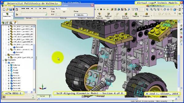 Simulación Cinemática Lego Technic 8816-1 con Cosmos Motion ¿ 4 de 8