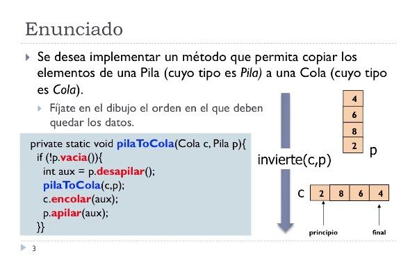 [PRG-OA] Traza del Algoritmo para Copiar los Elementos de una Pila a una Cola
