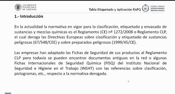 Clasificación, Etiquetado y Envasado de Sustancias y Mezclas Químicas. Tabla de Etiquetado y Aplicación RAPQ