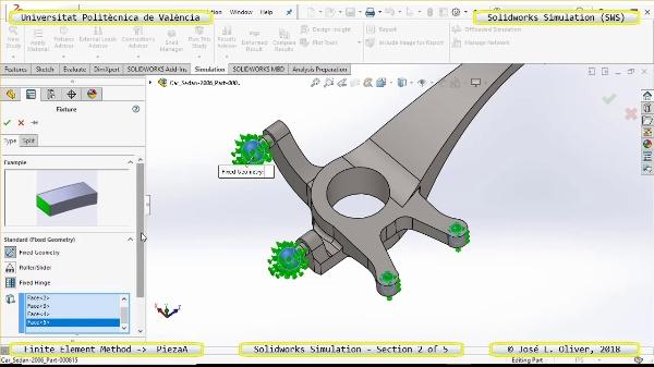 Análisis Estático Pieza Automóvil con Solidworks Simulation v17 - 2 de 5