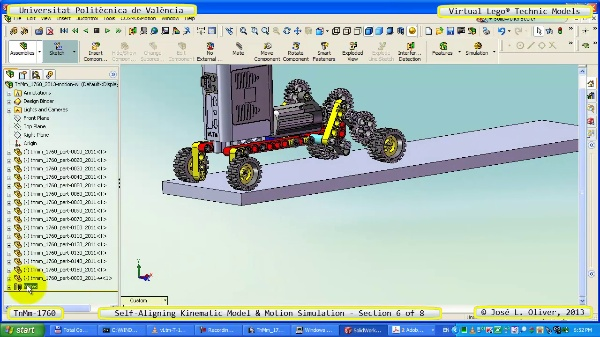Simulación Dinámica Lego Technic T-1760 sobre Base ¿B- 6 de 8