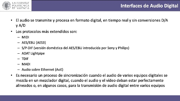 Interfaces digitales de audio y vídeo