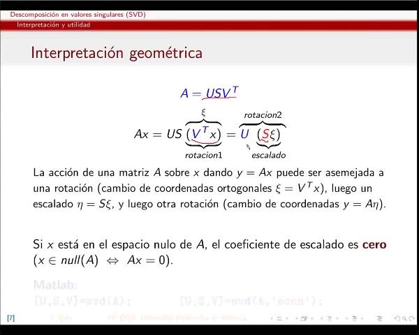 Descomposición en valores singulares (SVD): propiedades