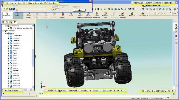 Simulación Dinámica Lego Technic 8816-1 sobre Base ¿ 1 de 7