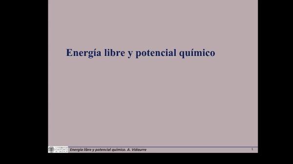 Energía libre y potencial químico