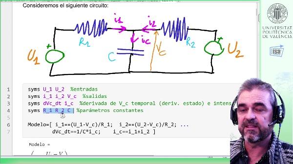 Modelado/simulación de un circuito R-C-R con dos fuentes de tensión: representación interna