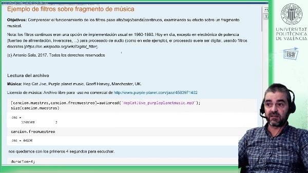 Respuesta en frecuencia: Filtros paso alto/bajo/banda continuos (ejemplo Matlab)