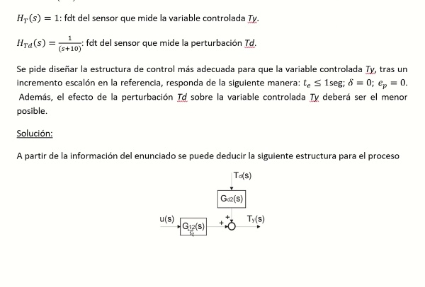 Control por prealimentación (ejercicio estructura no realizable)