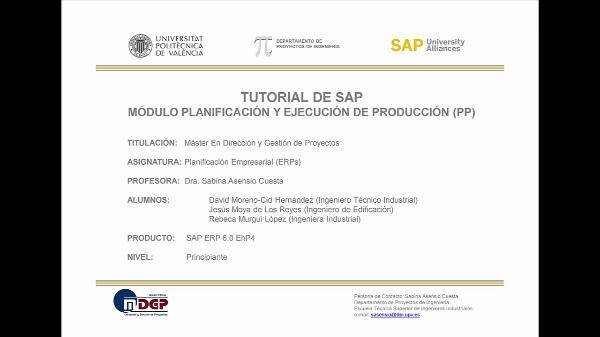 Tutorial de SAP (G.B.I. 2.20): Planificación de la Producción (Ejercicio de Estudio SAP UA)