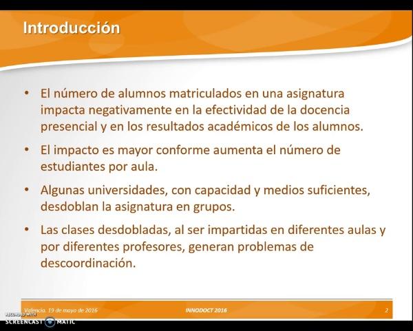 ---- No Subia ----- Creación de un sistema de respuesta de estudiante para mejorar la coordinación de la docencia presencial en asignaturas divididas en grupos