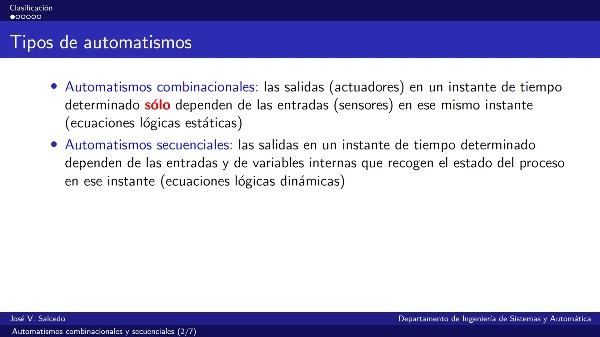 Clasificación de automatismos: combinacionales y secuenciales