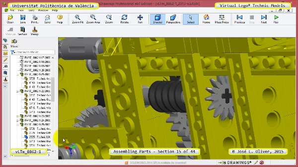 Creación Virtual Modelo Lego Technic 8862-1 ¿ Montaje Modelo ¿ 15 de 44